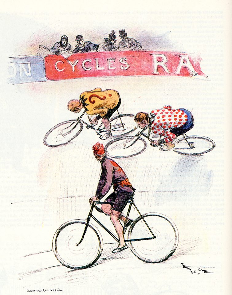 sketch of early 20th century track racing in Paris