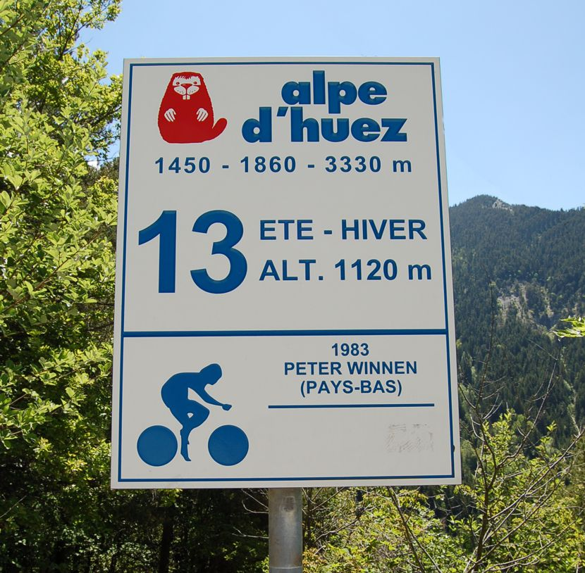 Image of sign on Alpe d'huez