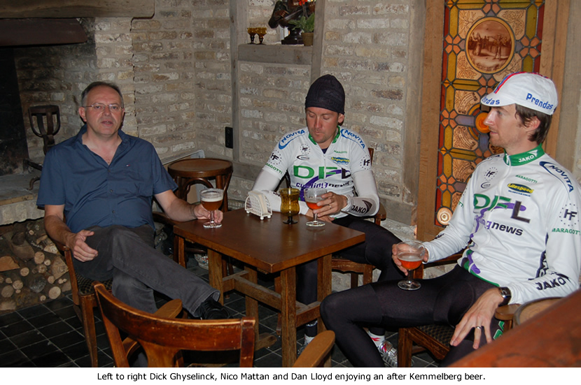 Image of Dick Ghyselinck, Nico Mattan and Dan Lloyd having an after training beer