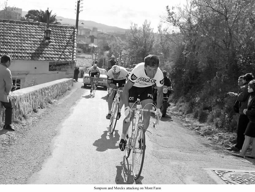 Simpson and Merckx attacking on Mont Faron